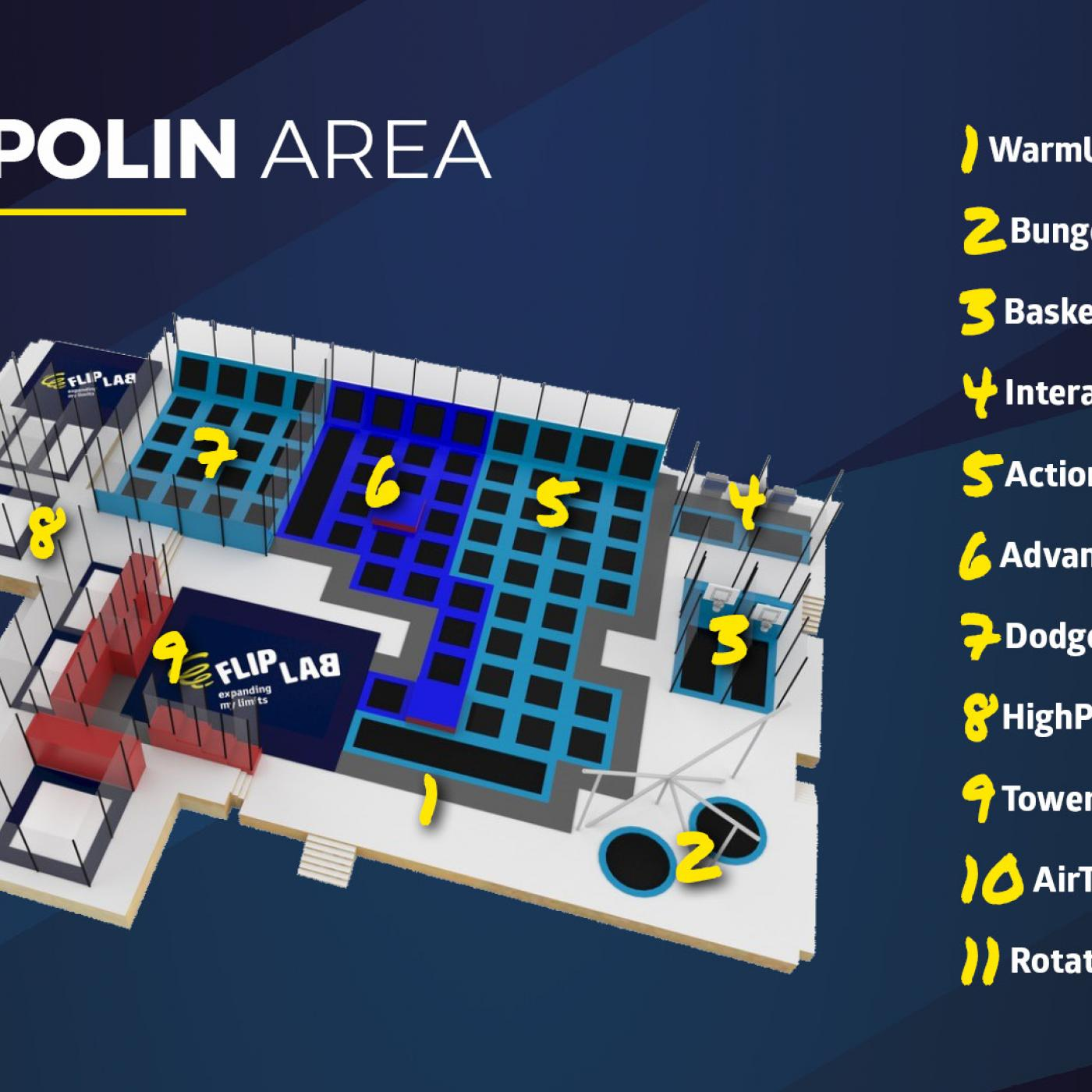 Plan Trampolin Area im Flip Lab Center in Graz.